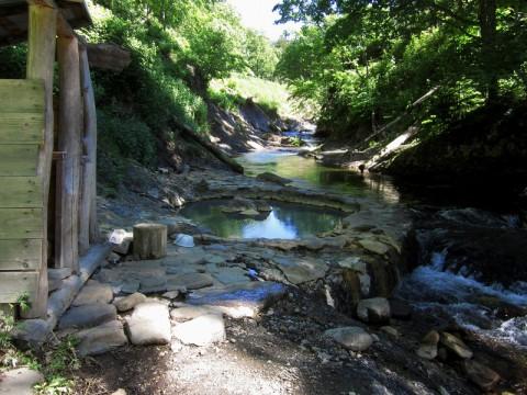 然別峡、鹿の湯を見学
