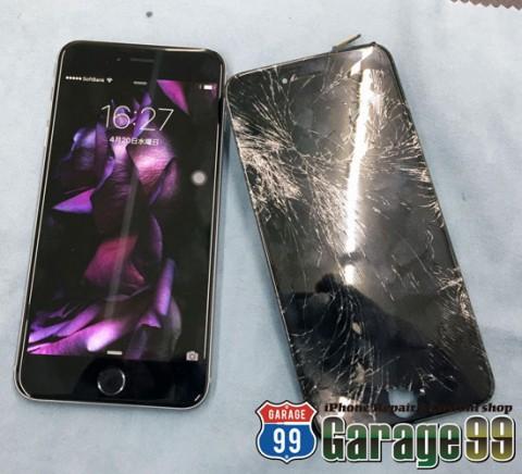 iPhone画面バキバキで液晶がめちゃくちゃでも、その場でピカピカ!