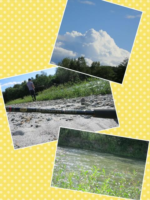 ボンズと二人で川釣りへ~