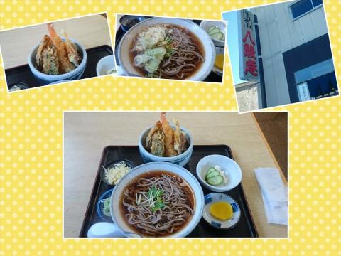 同僚とランチ~ in八駿庵さんで ミニ天丼蕎麦セットを