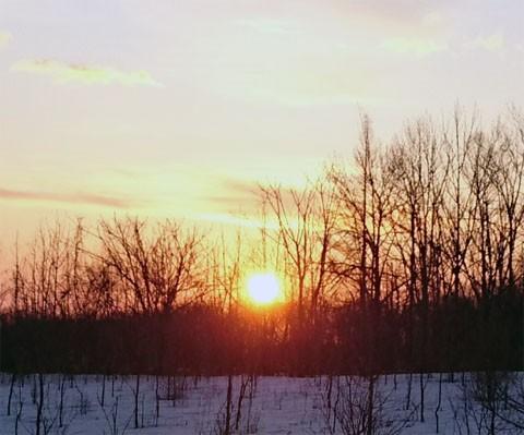 春分の日の朝焼け