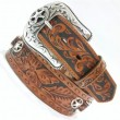 "Tony Lama / C41424 LEATHER BELT ""Star"" (TAN ANTIQUE)"